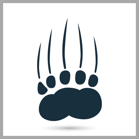 bear paw: Bear paw print icon on the background
