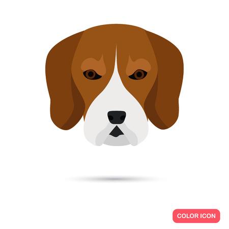 dog ears: Dog muzzle color icon Illustration