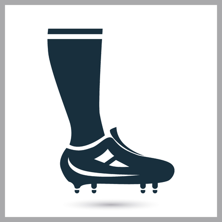 gaiters: Football player leg icon on the background Illustration