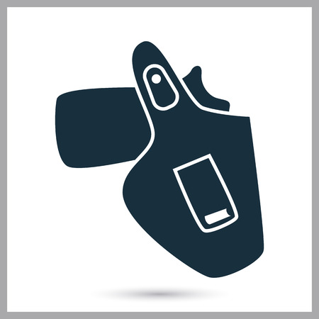 holster: Gun in the holster icon on the background Illustration