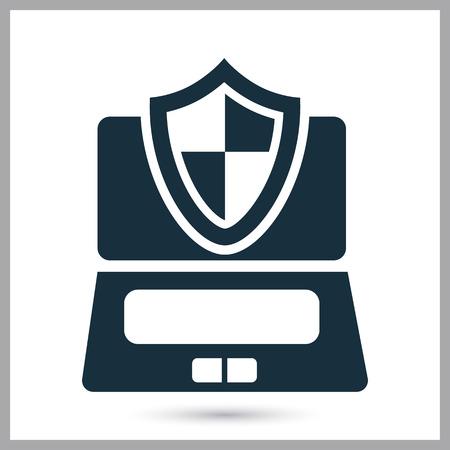 penetracion: Equipo bajo icono de protecci�n en el fondo