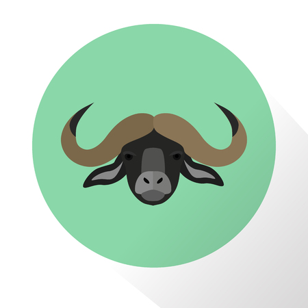 hoofed mammal: Buffalo color flat icon