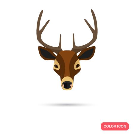 hoofed mammal: Deer color flat icon Illustration