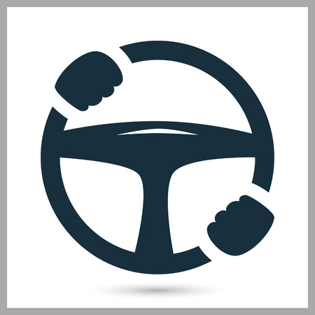 stop hand silhouette: Car helm icon on the background Illustration