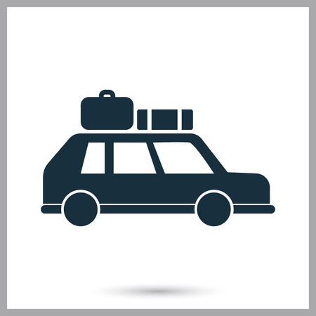 car clothes: Travel with car icon on the background