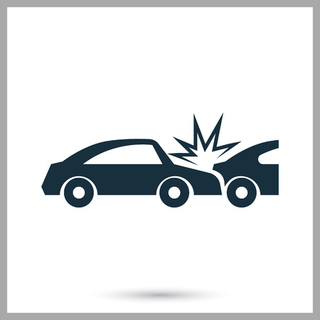 breakage: Cars crash icon on the background
