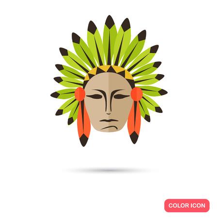 los hombres de color indio icono plana Ilustración de vector