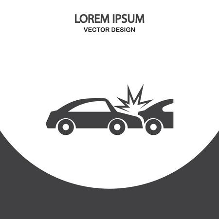 breakage: Cars crash icon on the background