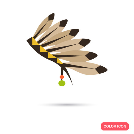 Indios del color gorro icono plana