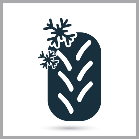 snow tires: Winter tire icon on the background