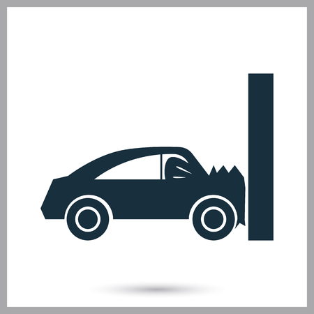 breakage: Car crash icon on the background