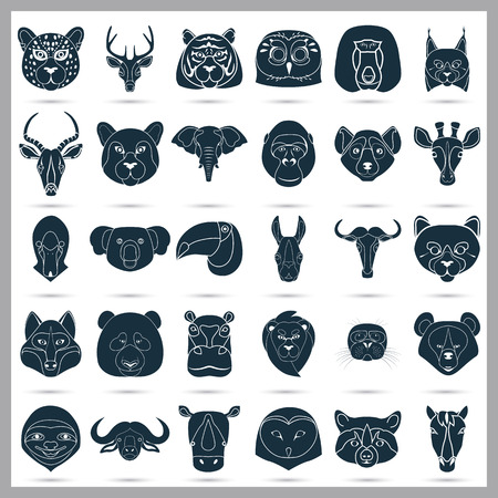 Set of thirty animals icons on the background Illustration