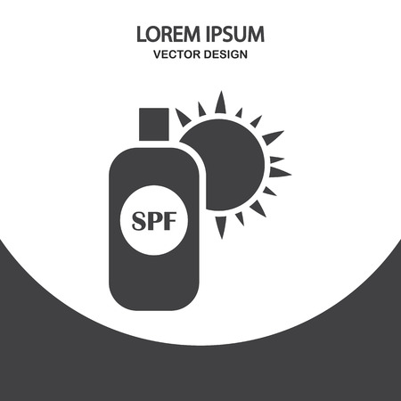 sun cream: Sun cream icon on the background Illustration