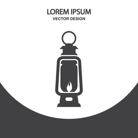 kerosene lamp: Kerosene lamp icon on the background