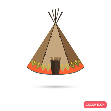 wigwam: Indians wigwam color flat icon