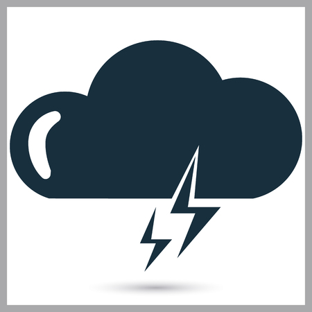 partly sunny: Thunderstorm weather icon on the background