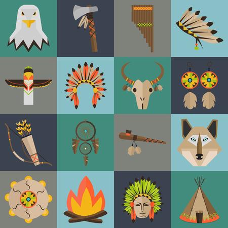 pipe dream: Indians culture color flat set Illustration