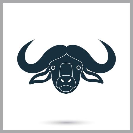 hoofed mammal: Buffalo icon on the background