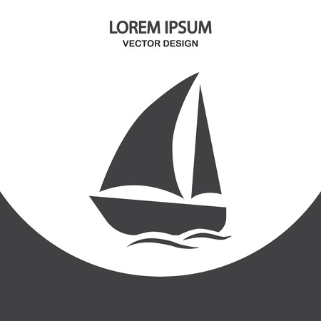 overseas: Travel yacht icon on the background Illustration
