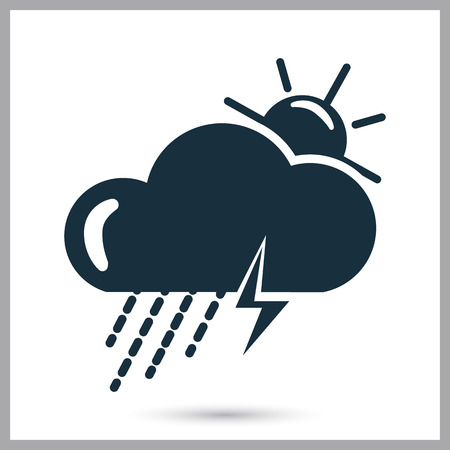 partly sunny: Storm weather icon on the background