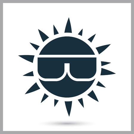 sun glasses: Sun in glasses icon on the background