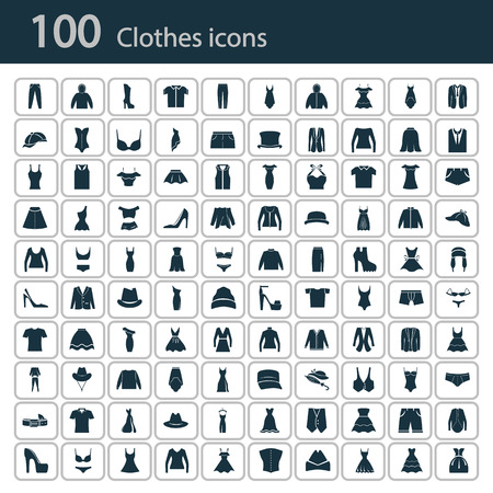 Set of one hundred clothes icon