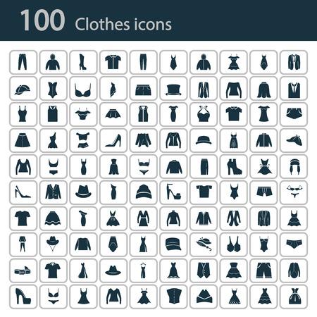 Conjunto de cien icono de la ropa Ilustración de vector