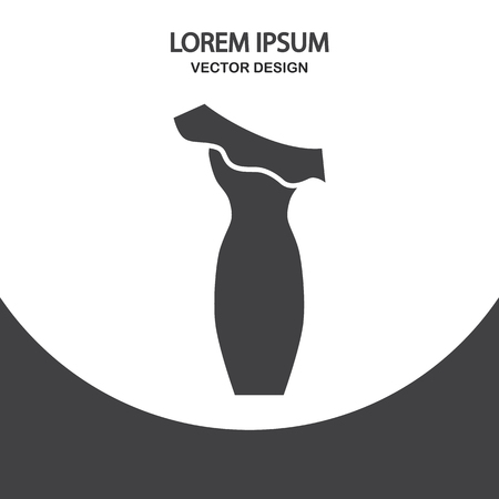 evening dress: Evening dress icon on the background