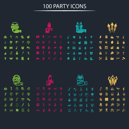 clown shoes: Set of one hundred party icons