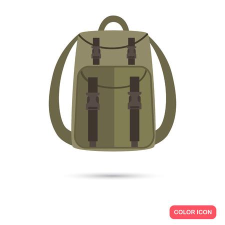 Hunter backpack color flat icon Иллюстрация
