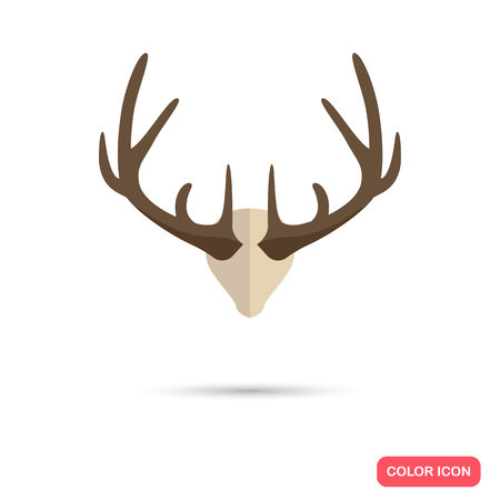 Deer horns color flat icon