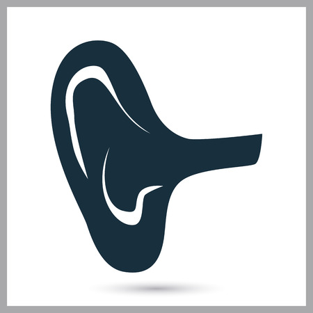 the human ear: Human ear icon on the background Illustration