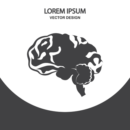 gyrus: Human brain icon on the background Illustration