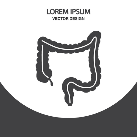 intestine: Human intestine icon on the background Illustration