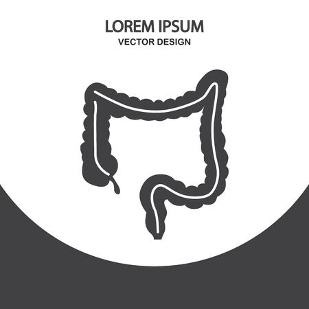 intestino: icono de intestino humano en el fondo