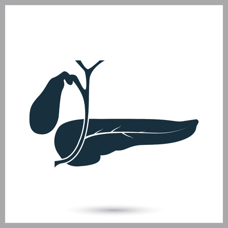 pancreas: Human pancreas icon on the background