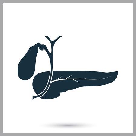 signos vitales: icono de páncreas humano en el fondo