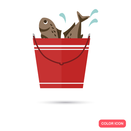 catch: Fishing catch color flat icon Illustration