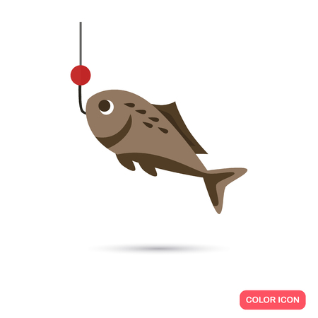 tail fin: Fish on the hook color flat icon