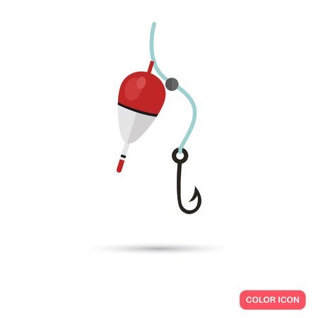 Fishing bobber and hook color flat icon Stock Illustratie