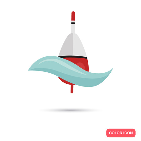 fishing bobber: Fishing bobber in the water color flat icon