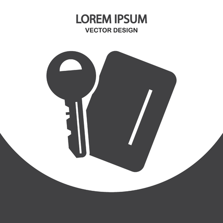 recreation rooms: Room key and card key icon on the background