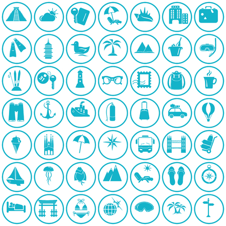 trave: Set of forty nine trave icons Illustration