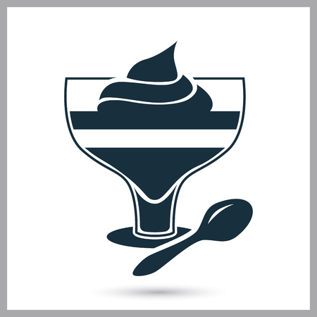provision: Dessert with cream simple icon on the background