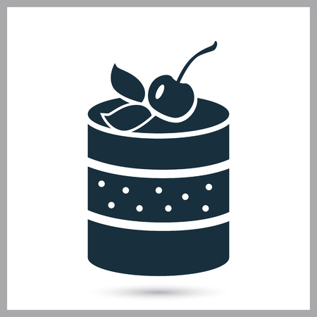 ration: Cake with cherry simple icon on the background