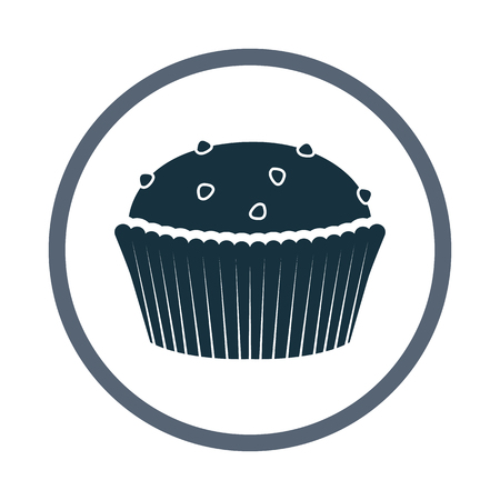 raisin: Cupcake with raisins simple icon on the background