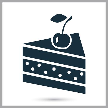 cake slice: Cake slice simple icon on the background
