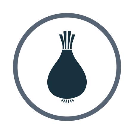 nourishment: Onion simple icon on the background Illustration