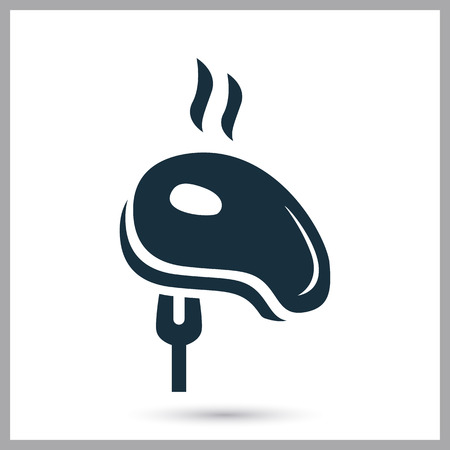 prepack: Barbecue steak in the fork simple icon on the background Illustration
