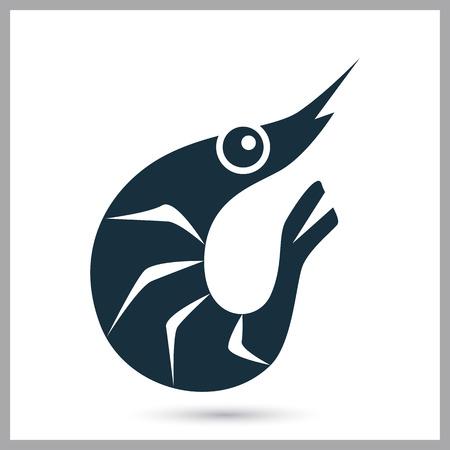 ration: Shrimp simple icon on the background Illustration